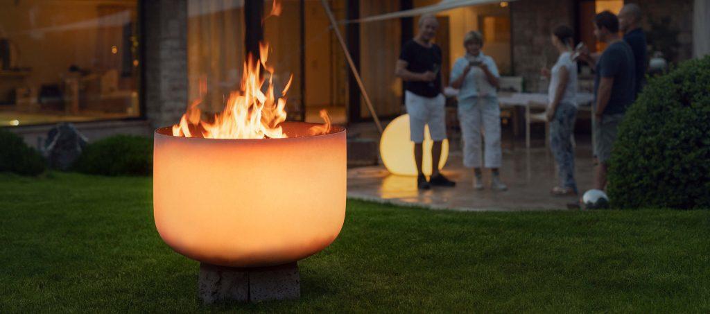Bol à feu en verre Q-Flame pour une utilisation en extérieur et dans le jardin